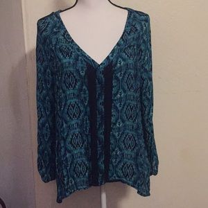 LUCKY BRAND BLUE AND GREEN FRESH BLOUSE